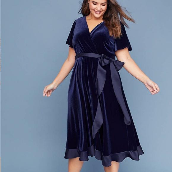 0daebdaa8f7 Lane Bryant Dresses   Skirts - Lane Bryant Navy Blue Velvet Dress